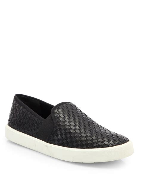 slip on sneakers vince woven leather slip on sneakers in black lyst