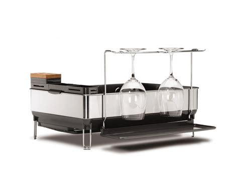 simplehuman steel frame dishrack with wine glass holder