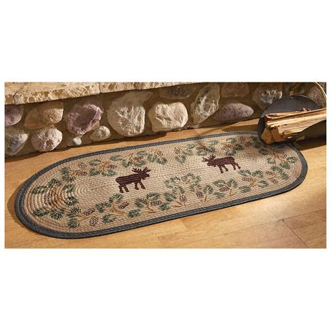 hearth rugs canada moose pinecone hearth rug 234087 rugs at sportsman s guide