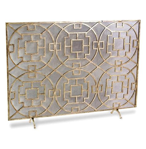 modern fireplace screen pyra modern transitional gold leaf medallion fireplace