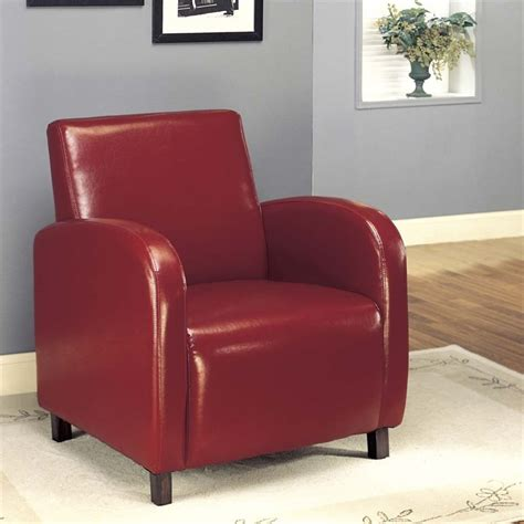 Burgundy Accent Chair Faux Leather Accent Chair In Burgundy I 8051