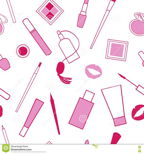 makeup pattern vector decorative cosmetics seamless pattern on white background