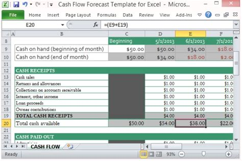 sle construction cash flow projection cash flow forecast template for excel