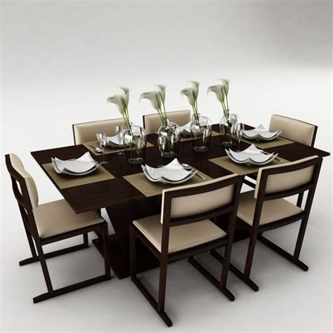 Dining Table Models Dining Table Set 3d Model Fbx Cgtrader