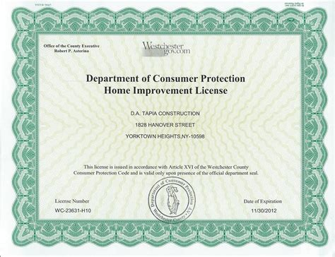 westchester home improvement license home review