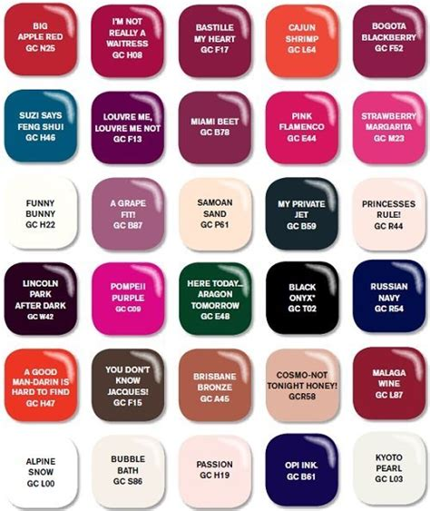 opi color chart opi gel color esmaltes para durar por 14 dias it cosm 233 ticos