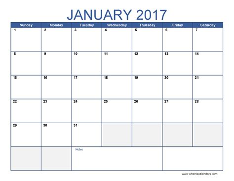 january calendar template january 2017 calendar template printable monthly calendar
