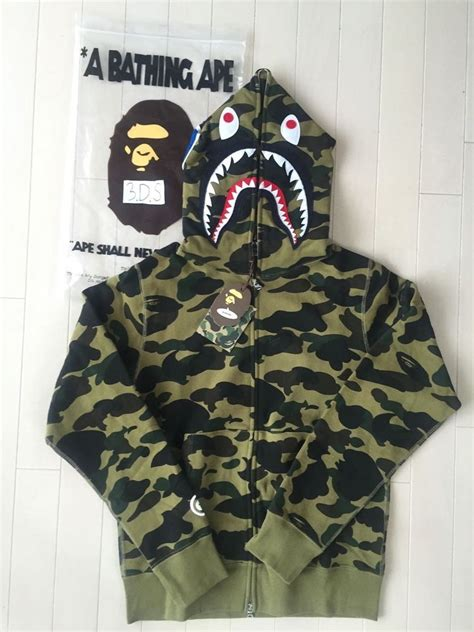 Bape Hoodie Shark Green Camo bape a bathing ape 1st green camo shark hoodie size xl