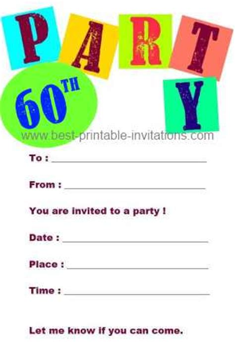 free printable 60th birthday invitations templates printable 60th birthday invitation