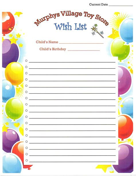 birthday list template 7 best images of printable birthday list out printable