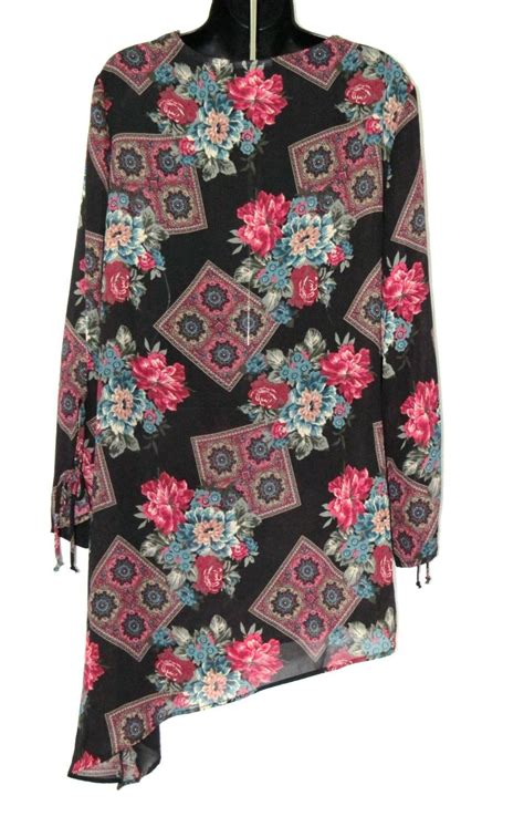 Hem Black Flower black floral print sheer lace trim nightgown with asymmetrical hem sleepwear robes