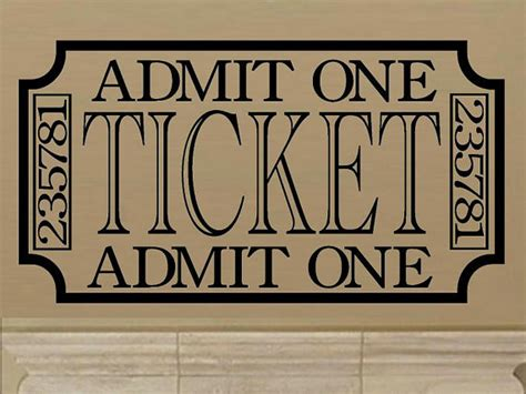 room tickets home theater decal retro vintage style ticket wall decal