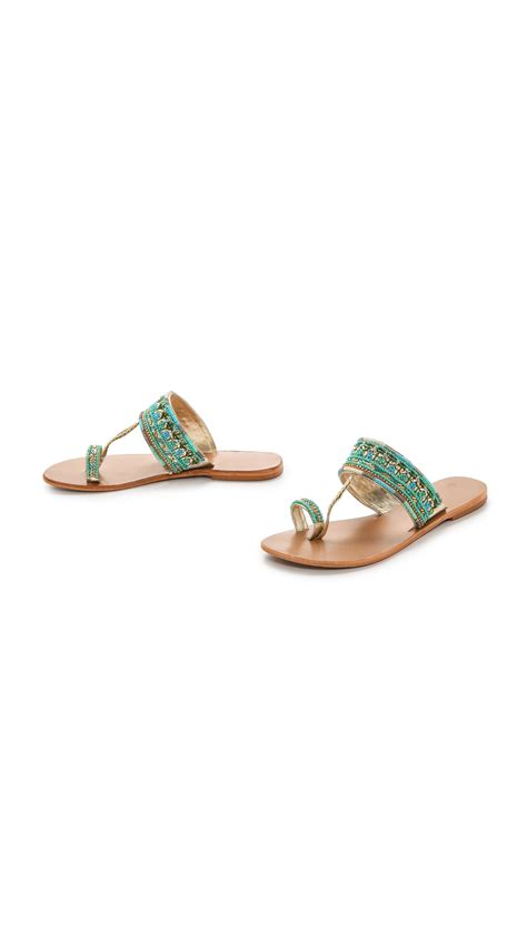 turquoise beaded sandals lyst mela sabri beaded sandals turquoise in blue