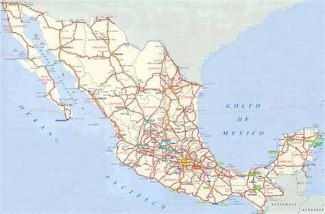 meixco map large detailed road and highways map of mexico mexico