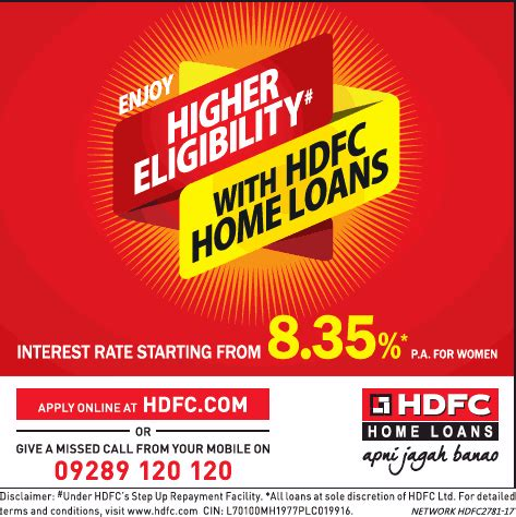 hdfc housing loan interest financial advertisement in indian newspapers advert gallery collection