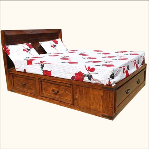 solid wood beds with storage drawers solid wood 5 storage drawer super queen bed size platform