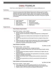 Relations Resume Exles by Relations Cv Exle For Marketing Livecareer