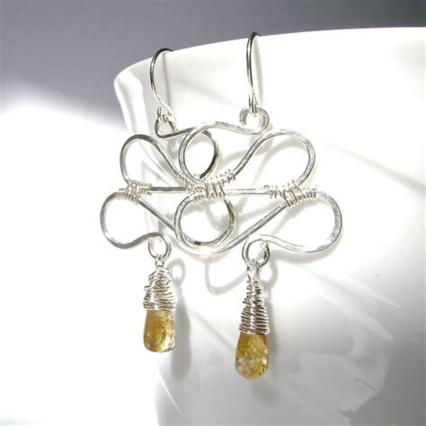 sterling silver wire for jewelry citrine earrings sterling silver wire wrapped zig zag