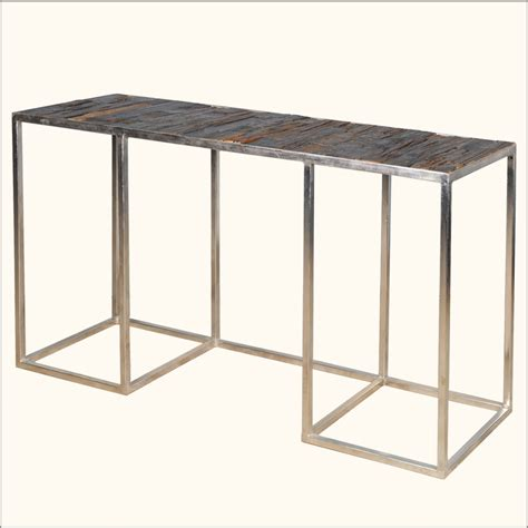 railroad tie console table reclaimed wood railroad tie iron entry foyer rustic