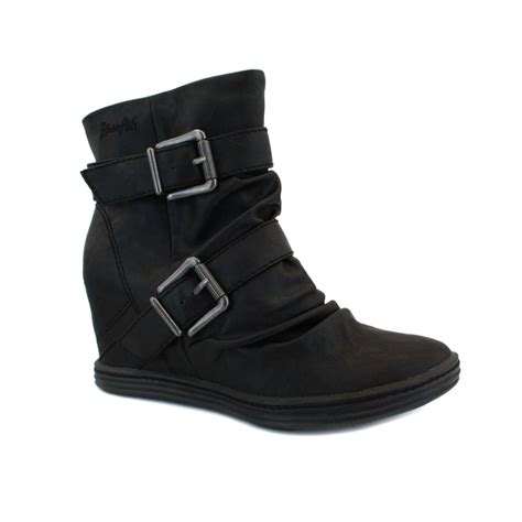 blowfish tugo womens zip faux leather wedge ankle boots black