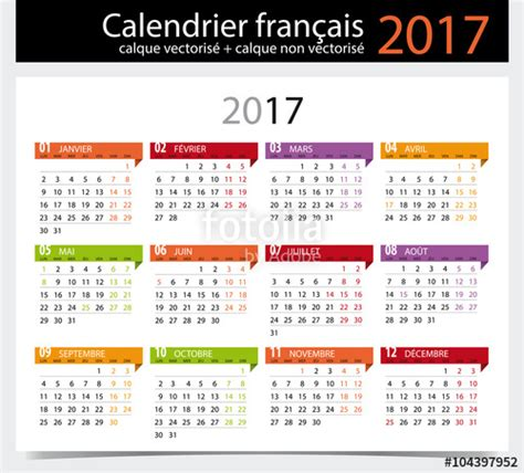 Calendrier 2017 En Francais Quot Calendrier 2017 Fran 231 Ais Avec Jours F 233 Ri 233 S Modifiable