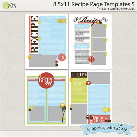 home business card template 8 5x11 ai digital scrapbook templates 8x11 recipe page 5