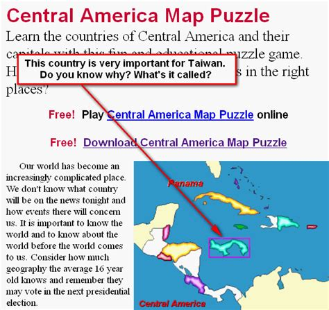 central america map puzzle language learning where is that country geography
