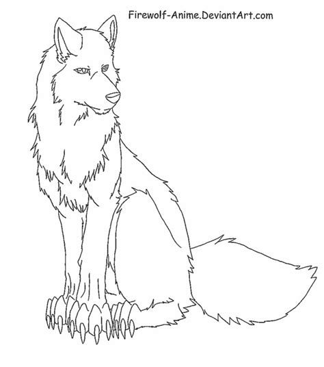 Anime Sitting Outline by Sitting Wolf Lineart By Firewolf Anime On Deviantart