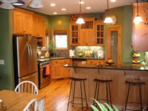 wonderful What Type Of Paint To Use On Kitchen Cabinets #2: green-kitchen-paint-colors-with-oak-cabinets.jpg