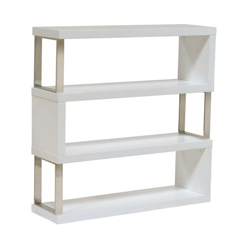 sofa low profile shelf unit in white lacquer
