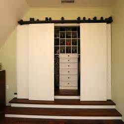 Rustic closet doors ideas in white color for small walk in closet with