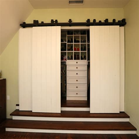How To Build A Sliding Closet Door Barn Doors For Closets Bathroom Transitional With Barn Door Hardware Barn Beeyoutifullife