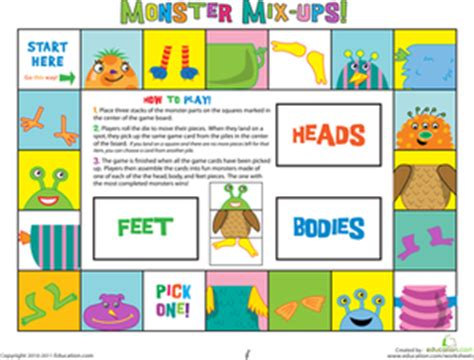 printable board games for kindergarten the mix up monsters worksheet education com