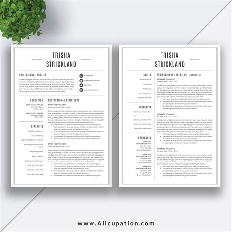 Professional Resume Template Cv Template Cover Letter 1 2 3 Page Template References Word 2 Page Resume Templates Free