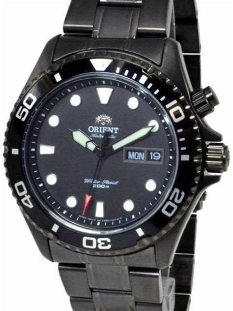 Orient Black Ray Raven 21 Jewel Automatic Dive Watch with Black PVD Bracelet #EM65007B