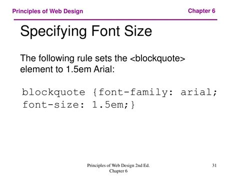 font design principles ppt chapter 6 web typography powerpoint presentation