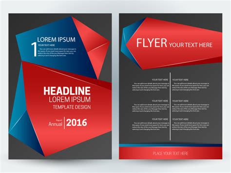 Flyer Template Design With Abstract 3d Dark Background Free Vector In Adobe Illustrator Ai Ai Adobe Illustrator Flyer Template