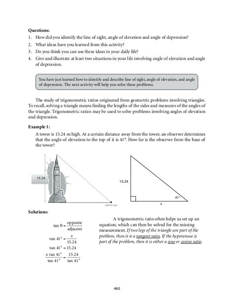Angle Of Elevation And Depression Worksheet by Angles Of Elevation And Depression Worksheet Lesupercoin