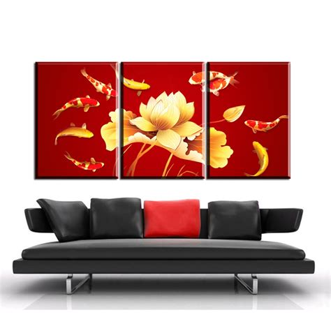 Posters For Living Room - ab1 3pcs colored koi fish canvas prints poster luxury