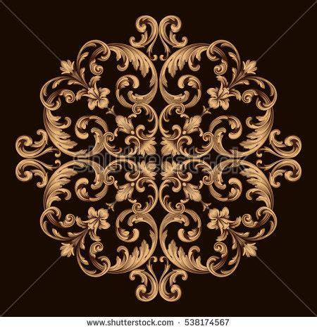 decorative baroque design elements vector vintage baroque ornament retro pattern antique stock