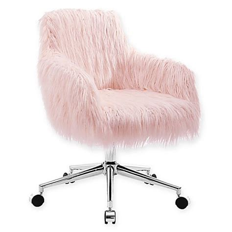 pink furry desk chair linon home fiona faux fur office chair in blush bed bath