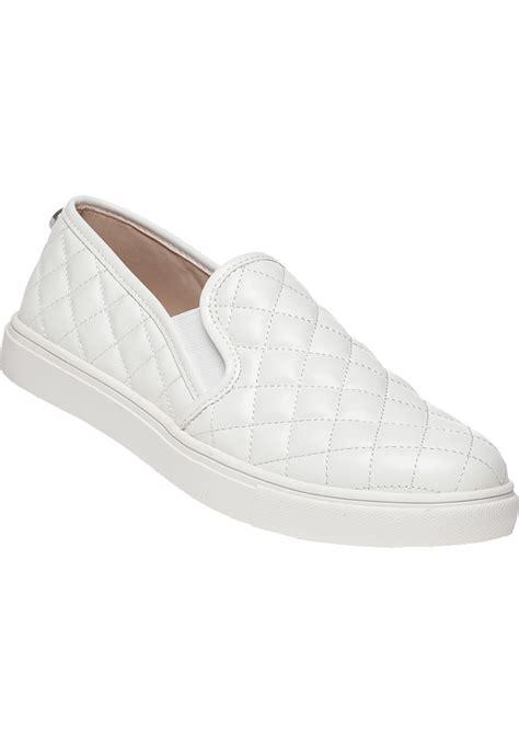 steve madden slip on sneakers steve madden ecentrcq slip on sneaker white in white lyst