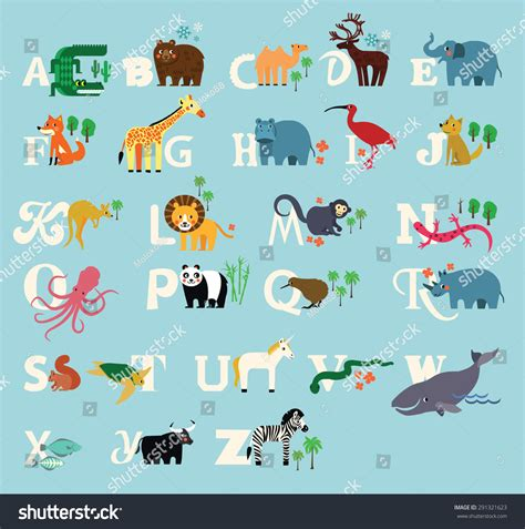 alphabet with animals stock vector animal alphabet zoo alphabet stock vector 291321623