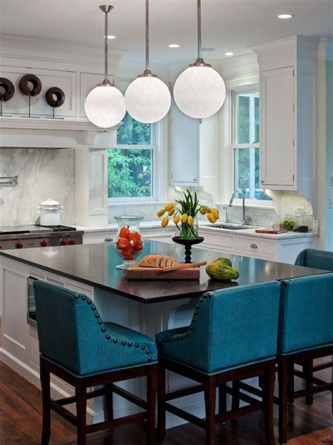 blue bar stools kitchen furniture kitchen white walls dark countertops turquoise accents