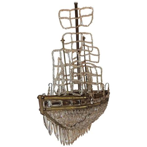 Sailboat Chandelier Wonderful Beaded Bronze Sailboat Ship Boat Chandelier Five Light Fixture At 1stdibs