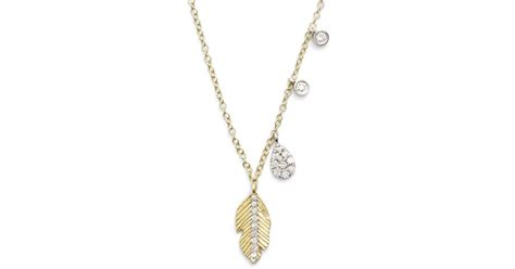 meira t meirat leaf pendant necklace in metallic lyst