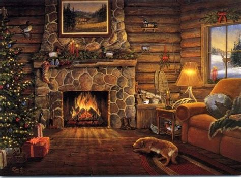 Thomas Kinkade Home Interiors Free Christmas Desktop Wallpapers Christmas Fireplace