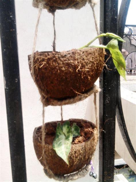 kerajinan tangan  batok kelapa pot