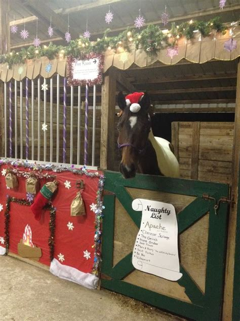 decorating a steel barn for christmas my s stall for our stall decorating contest in 2012 list with bags of
