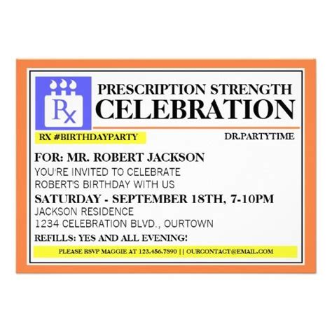 Funny Prescription Label Party Invitations Funny Party Invitations And Parties Medication Label Template